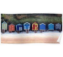 Beach Huts On Wells Beach Poster