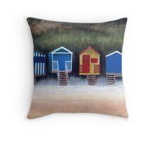 Beach Huts On Wells Beach Throw Pillow