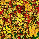 Orange & Yellow Flowers on Red by Gravityx9