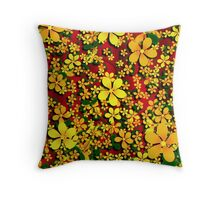Orange & Yellow Flowers on Red Throw Pillow