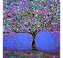 Trees and Rain Oil Painting Abstract Photographic Print
