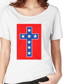 STAR SPANGLED CROSS Women's Relaxed Fit T-Shirt