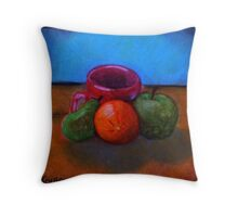 Fruits and Cup of Coffee Throw Pillow
