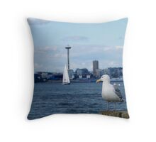 With an eye on Seattle.... Throw Pillow