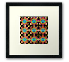 Orange Kaleidoscope With Blue And Green On Black Tiled Framed Print