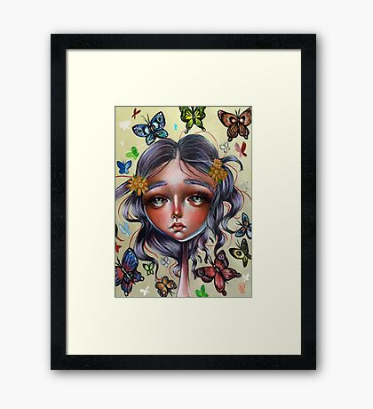 Chrysalis and Butterflies - Pop Surrealism Illustration Framed Print