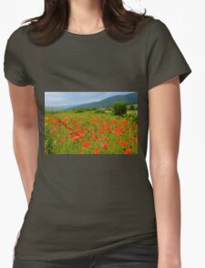 Field of Red Poppy Flowers Womens Fitted T-Shirt