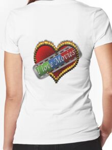 I Love Films Women's Fitted V-Neck T-Shirt