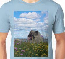 Keeshond among the flowers Unisex T-Shirt