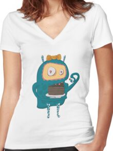 Cakes... cakes for monsters!  Women's Fitted V-Neck T-Shirt