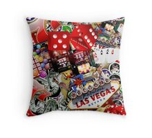 Gamblers Delight - Las Vegas Icons Background Throw Pillow