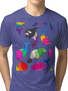 Sexuality Whales (And Aromanatee) Pattern Tri-blend T-Shirt