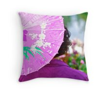 Spring Festival ~ the Purple Parasol Throw Pillow