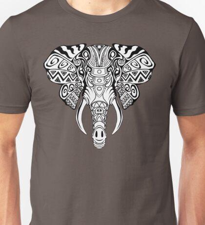 Mosaic Elephant: Black and White Unisex T-Shirt