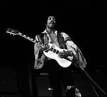 Jimi Hendrix Plays his White Gibson SG guitar by Alan Abriss
