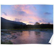 Cowlitz River Sunset Poster