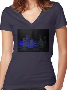 Chess Pieces Women's Fitted V-Neck T-Shirt