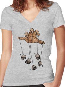 The Five Dancing Skulls Of Doom Women's Fitted V-Neck T-Shirt