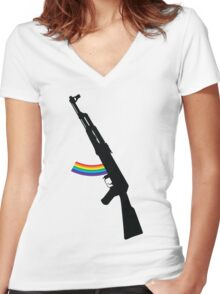 Rainbow AK-47 Women's Fitted V-Neck T-Shirt