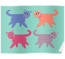 4 Colorful Cats Poster