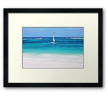 Yacht at tropical sandy beach in Anse Georgette, Praslin island, Seychelles  Framed Print