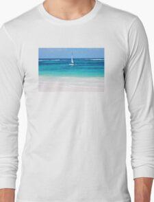 Yacht at tropical sandy beach in Anse Georgette, Praslin island, Seychelles  Long Sleeve T-Shirt