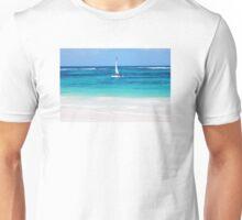 Yacht at tropical sandy beach in Anse Georgette, Praslin island, Seychelles  Unisex T-Shirt