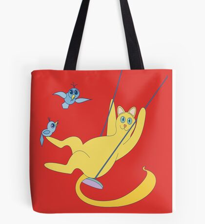 Cat On A Swing Tote Bag