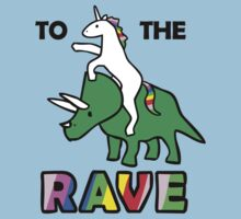 To The Rave! (Unicorn Riding Triceratops) Baby Tee