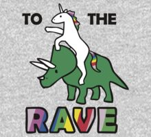 To The Rave! (Unicorn Riding Triceratops) Kids Clothes