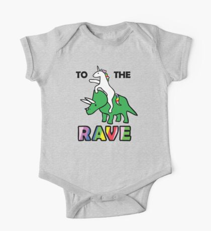 To The Rave! (Unicorn Riding Triceratops) One Piece - Short Sleeve