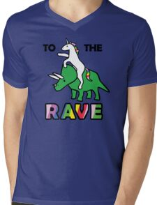 To The Rave! (Unicorn Riding Triceratops) Mens V-Neck T-Shirt