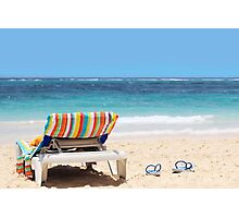 Tropical beach with chaise lounge at Maldives Photographic Print