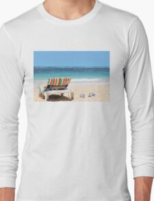 Tropical beach with chaise lounge at Maldives Long Sleeve T-Shirt
