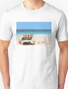 Tropical beach with chaise lounge at Maldives Unisex T-Shirt