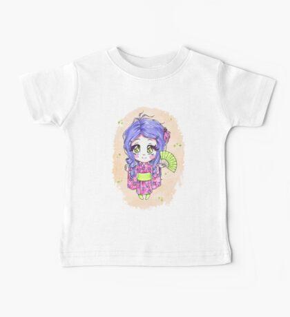 Chibi girl wearing a pink yukata Baby Tee