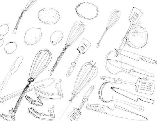 Penny Coia › Portfolio › Drawing Day - Assorted kitchen utensils 2