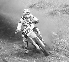b/w motorbike dust kickup by gaylene