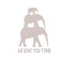 We love you tons pink and gray chevron elephants by swannonthefarm