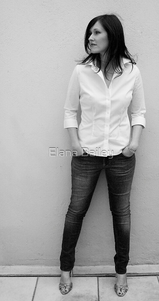 Sarah in a shirt and jeans by Elana Bailey