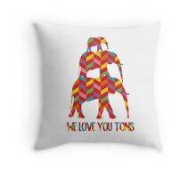 We love you tons rainbow geometric elephants Throw Pillow