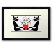 Two Cats With Flowers Framed Print