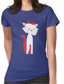 White Kitty Womens Fitted T-Shirt