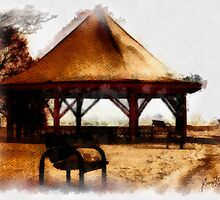 Orillia - Park Bench & Gazebo by Gracey