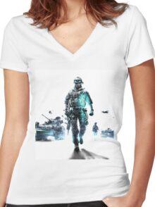 Battlefield 3 White Women's Fitted V-Neck T-Shirt