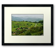 Village on the road, Romania Framed Print