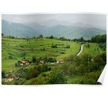 Village on the road, Romania Poster