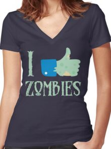 I Like Thumbs Up Zombies T Shirt Women's Fitted V-Neck T-Shirt