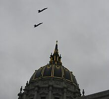 flight of two over City Hall by fototaker