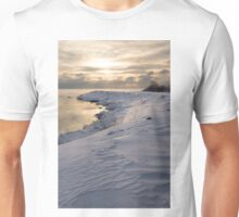 Icy, Snowy Lake Shore Morning Unisex T-Shirt